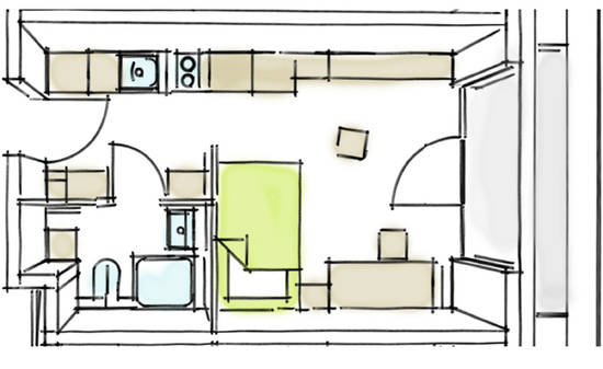 Student acommodation, floor plan comfort apartment